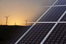 green energy, wind and solar panels